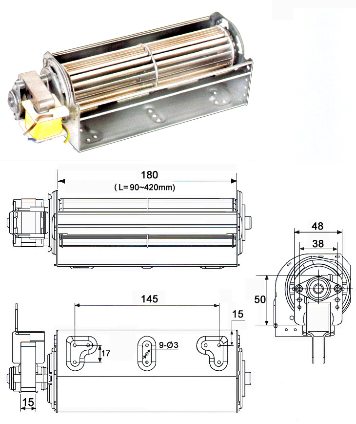 48 cross flow fan with single phase <a href=http://www.motor-chinese.com target='_blank'>ELECTRIC MOTOR</a>