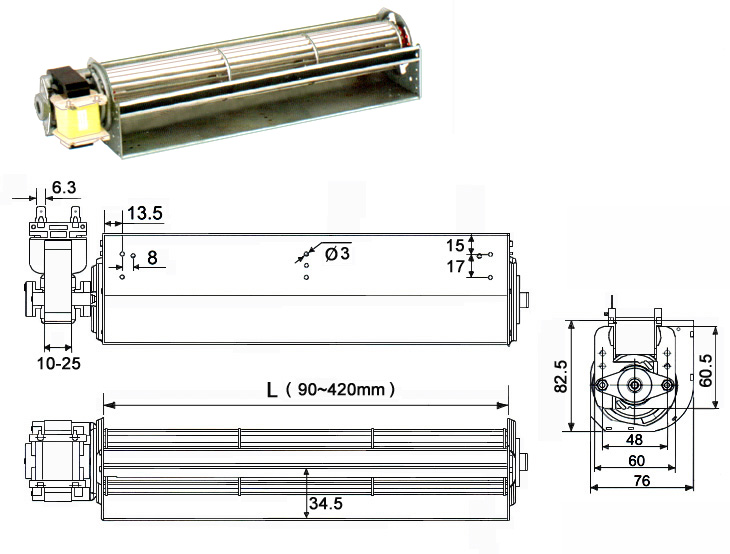 48B cross-flow-fans with <a href=http://www.motor-chinese.com target='_blank'>single phase motor</a>