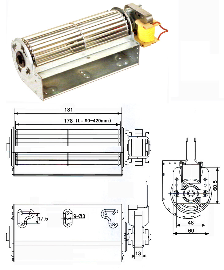 60 cross-flow-fan with <a href=http://www.motor-chinese.com target='_blank'>single phase motor</a>s