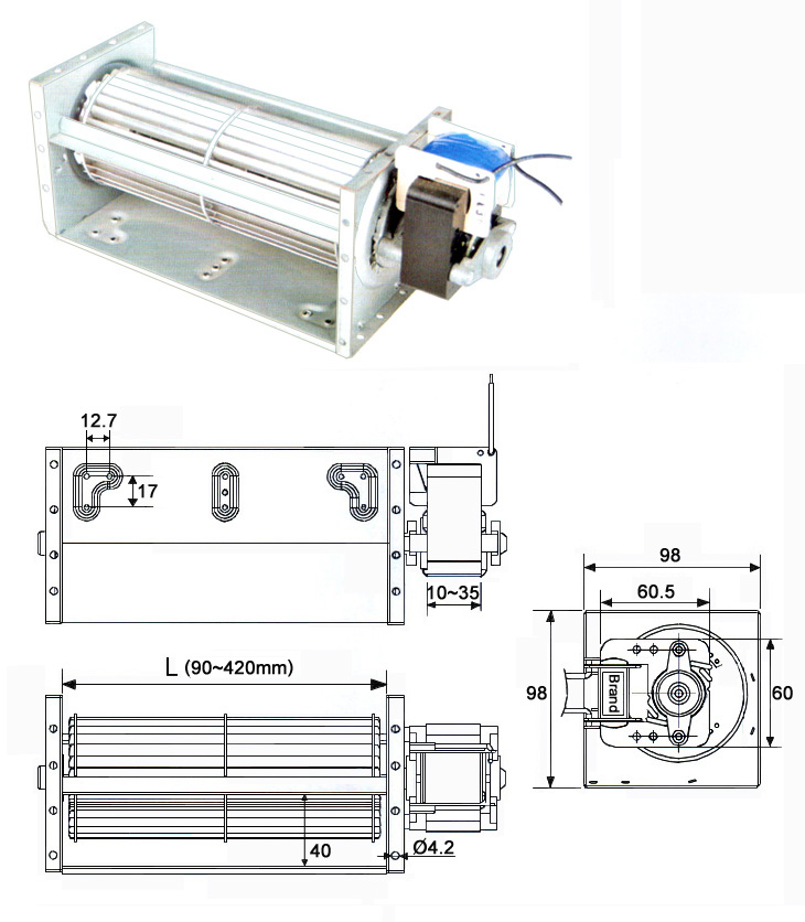 size of 70 cross-flow-fans with <a href=http://www.motor-chinese.com target='_blank'>single phase motor</a>