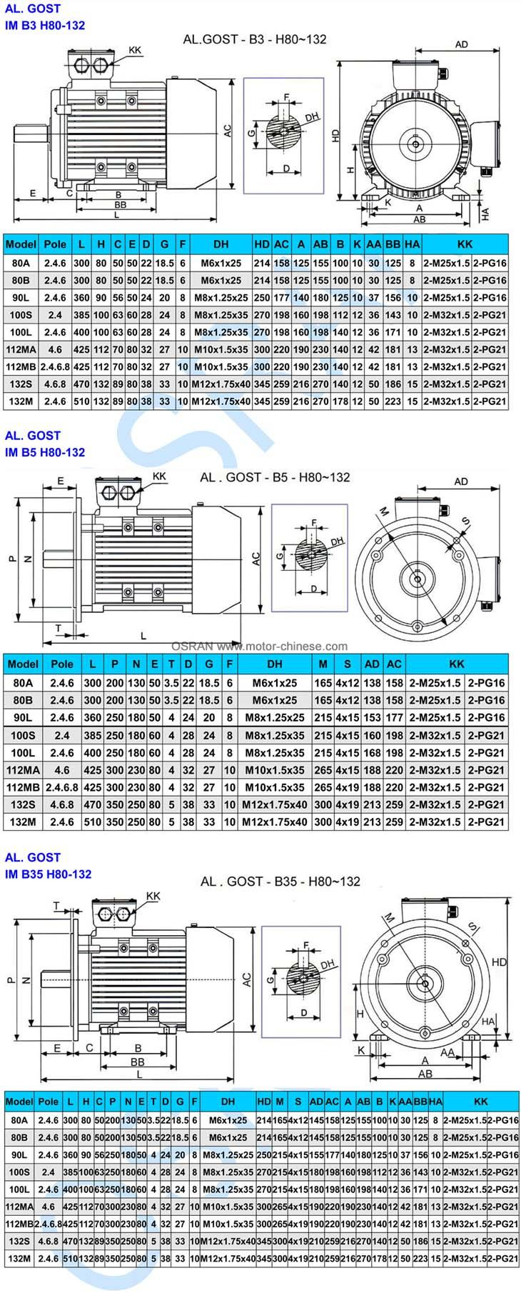 B3-B5-B35 mounting sizes of AL GOST electric motor